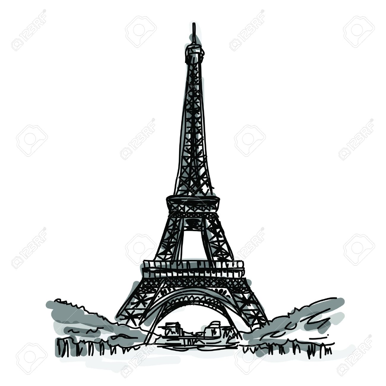 1300x1300 Drawn Eiffel Tower Famous Building