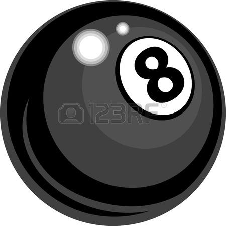450x450 Cartoon Face On A Billiards Or Pool Eight Ball Vector Illustration