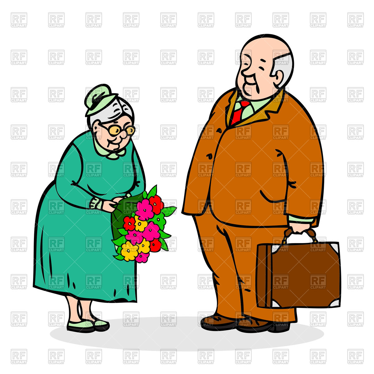 1200x1200 Happy Elderly Couple. Old Man With Bouquet Of Flowers Royalty Free