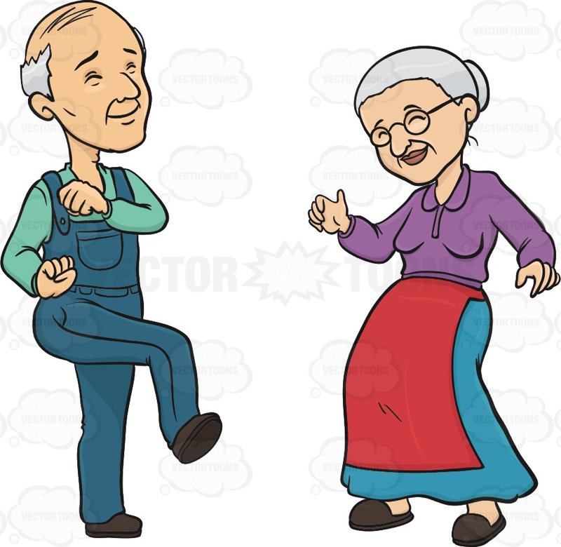 800x780 Elderly Couple Smiling While Dancing Cartoon Clipart