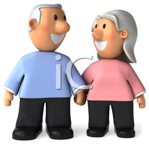 300x291 Art Image A Cute Elderly Couple Holding Hands And Smiling At Each