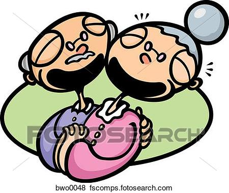 450x379 Stock Illustration Of An Elderly Couple Laughing Bwo0048