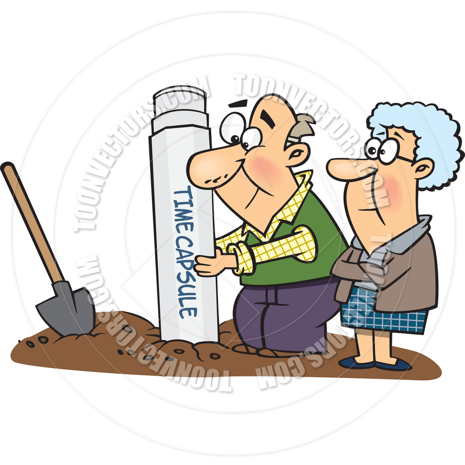 940x940 Cartoon Elderly Couple Digging Up Time Capsule By Ron Leishman