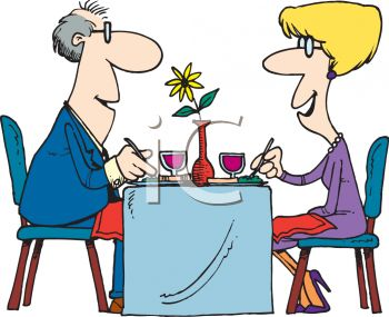 350x285 Cartoon Of A Couple On A Date Clipart