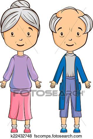316x470 Clip Art Of Cartoon Senior Couple K22432748