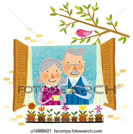 450x453 Clipart Of Elderly Couple Drinking Cup Of Tea Beside Window