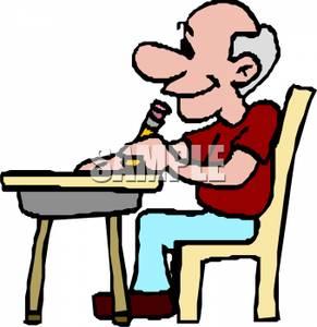 291x300 Art Image An Elderly Man Sitting At A Desk Writing