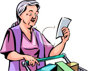 300x243 Elderly Woman Doing Her Grocery Shopping And Checking Her List