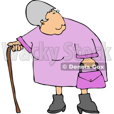 400x400 Obese Woman Standing With A Cane Clipart Djart