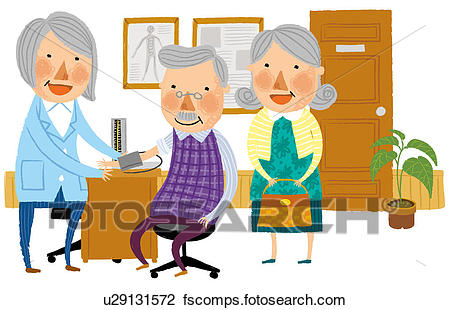 450x310 Clip Art Of Doctor Checking Blood Pressure Of Elderly Man