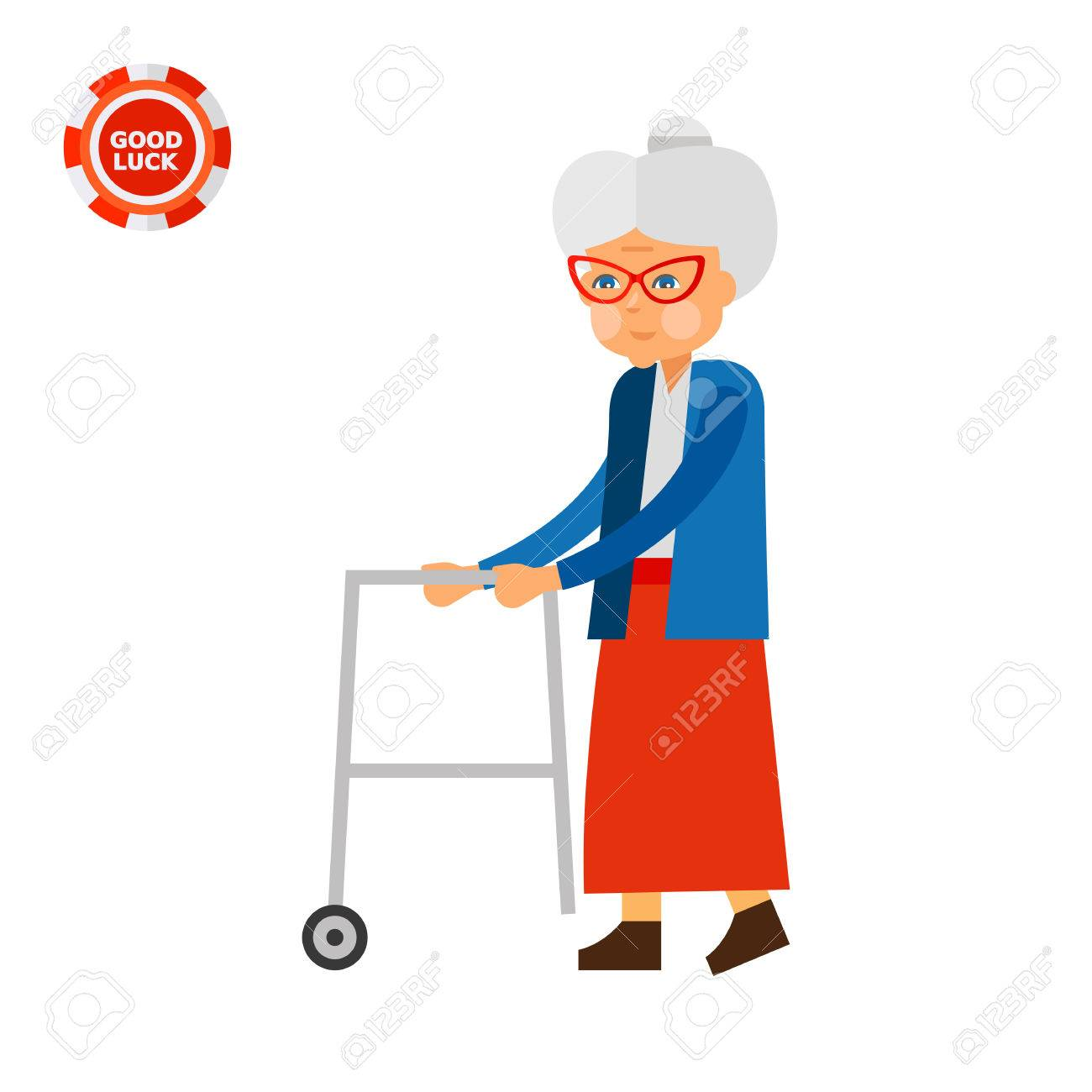 1300x1300 Elderly Woman With Rolling Walkers. Aging, Old Person, Age. Aging