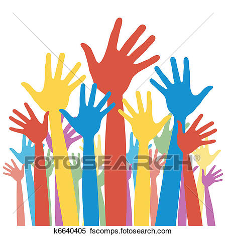 450x470 Clipart Of General Election Voting Hands. K6640405