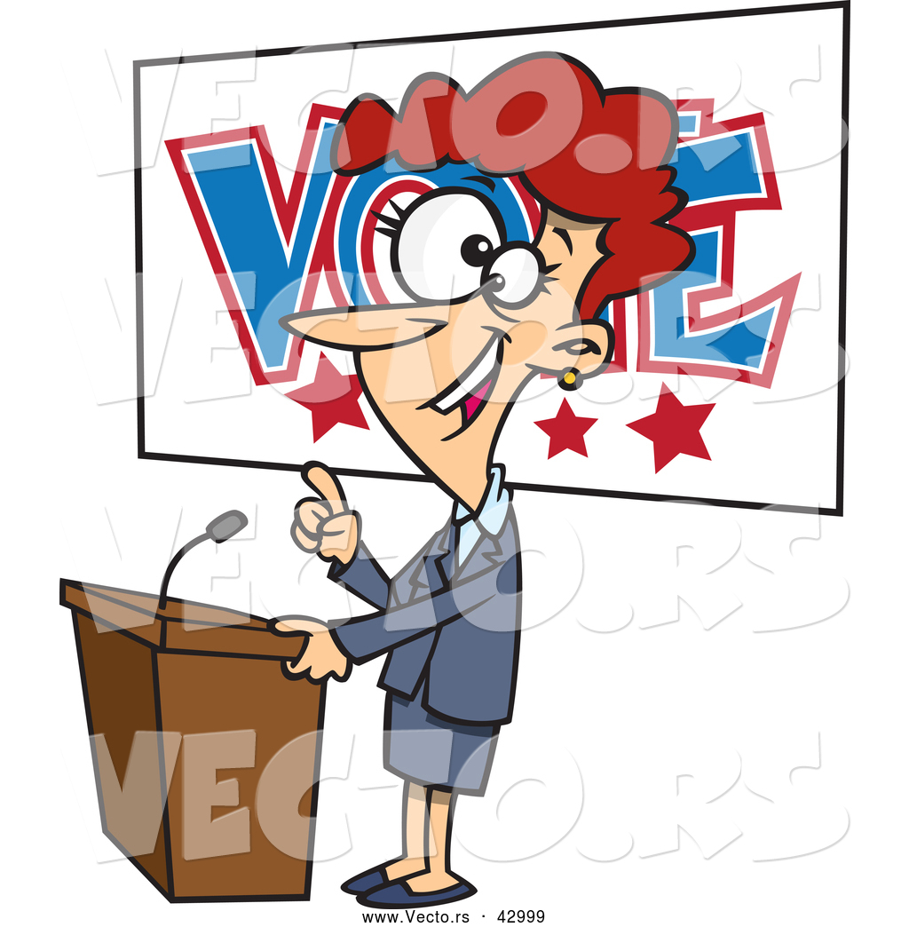 1024x1044 Vector Of A Happy Happy Cartoon Female Politician Giving A Vote