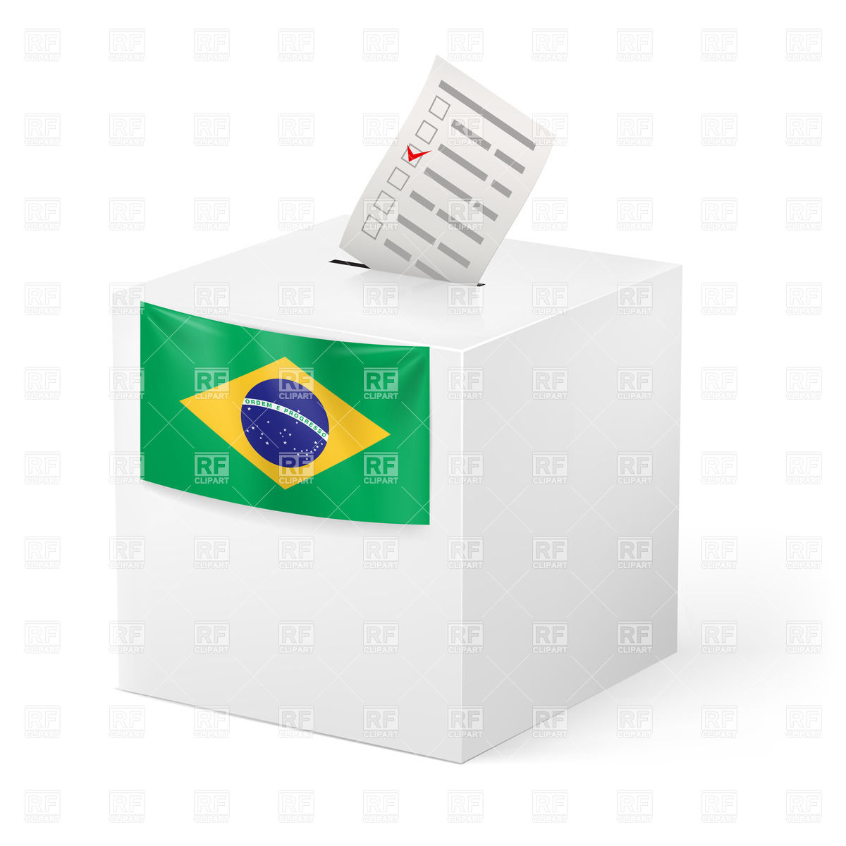 1200x1200 Election In Brazil Ballot Box With Voting Paper Royalty Free