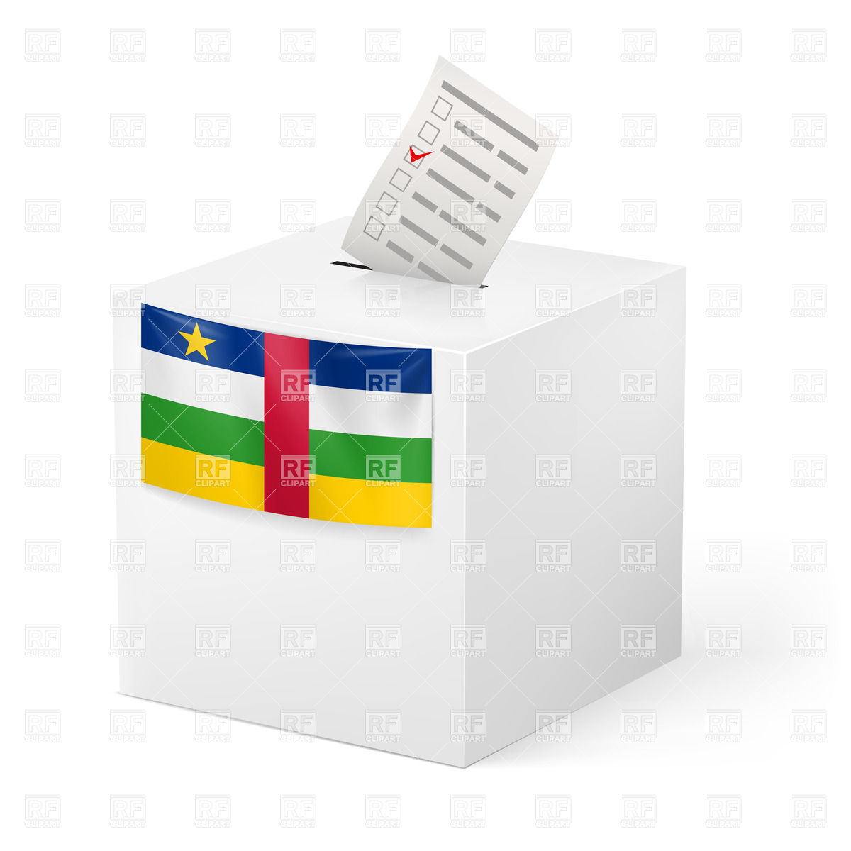 1200x1200 Election In Central African Republic Ballot Box With Voting Paper