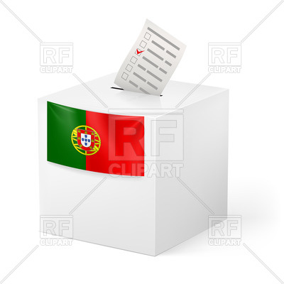 400x400 Election In Portugal Ballot Box With Voting Paper Royalty Free