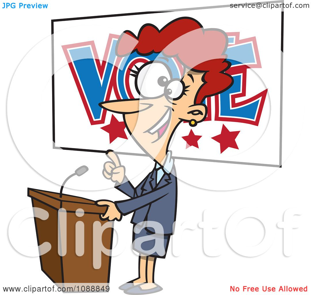 1080x1024 Clipart Female Politician Giving A Speech Before An Election