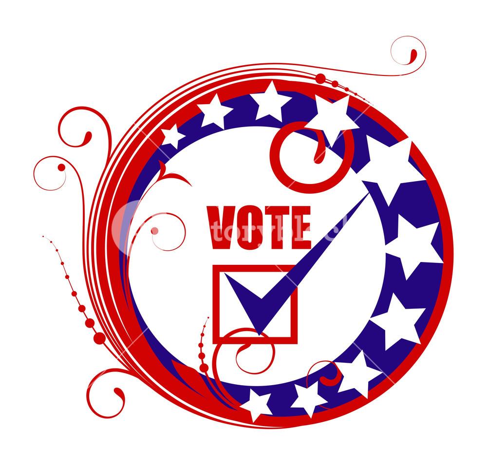 1000x955 Circular Vote Banner Badge Frame Election Day Vector Illustration