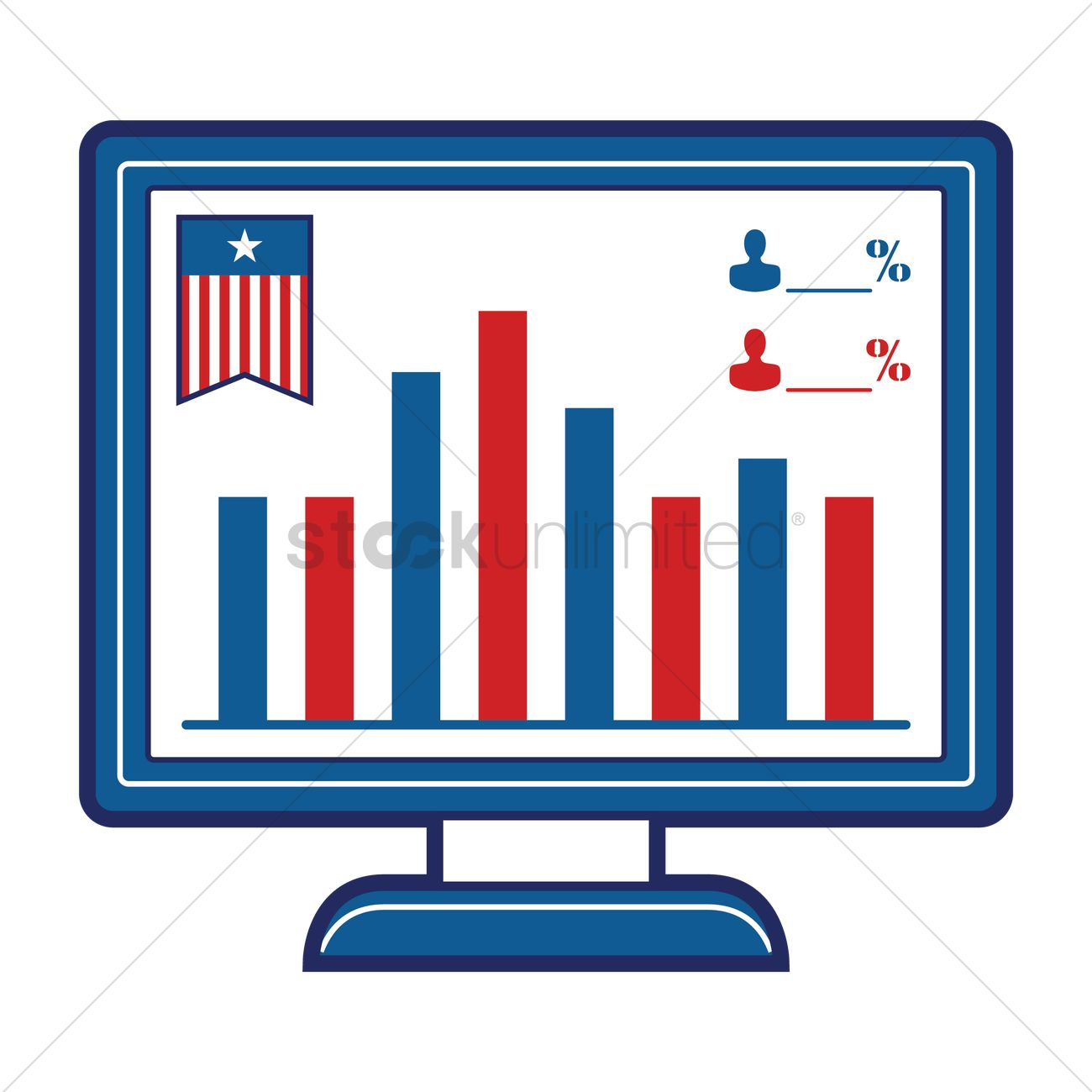 1300x1300 Monitor Showing Bar Graph Of Election Polls Vector Image