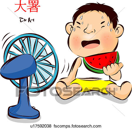 450x440 Stock Illustration Of Kid, Heat, Watermelon, Electric Fan, Child