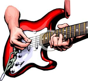 300x277 Playing An Electric Guitar Clip Art Image