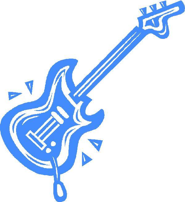 600x655 Blue Guitar Clipart