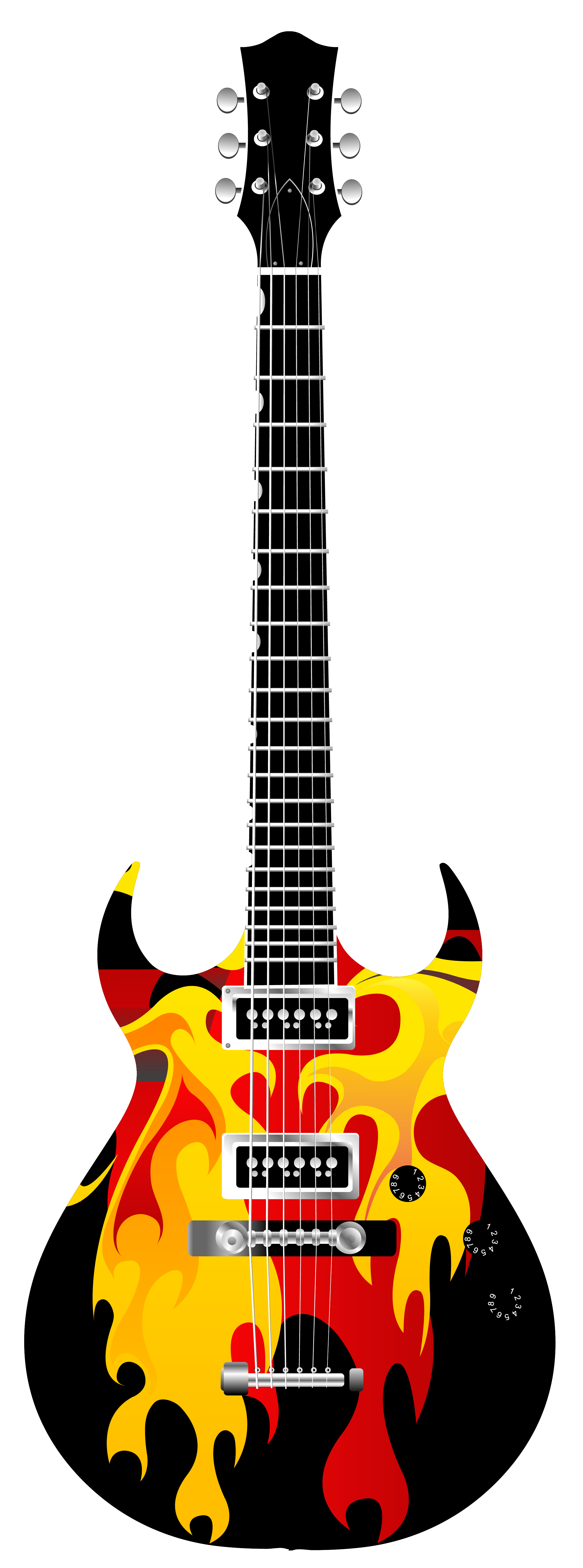 2293x6168 Guitar Clipart On Fire