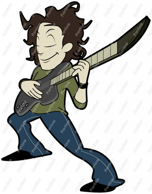627x800 Man Playing Electric Guitar Character Clip Art