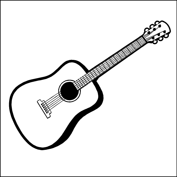 600x600 Free Guitar Clipart Black And White Image
