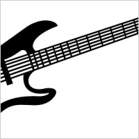 200x200 Electric Guitar Black And White Clipart