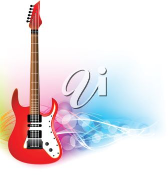 335x350 Picture Of A Red And White Electric Guitar In A Vector Clip Art
