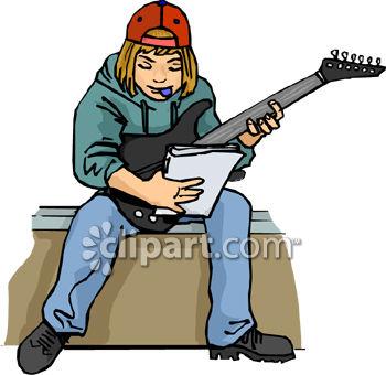 350x340 Teenage Boy Playing Electric Guitar