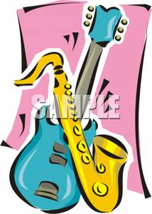 214x300 Art Image A Saxophone And An Electric Guitar