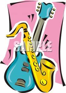 214x300 Art Image A Saxophone And An Electric Guitar