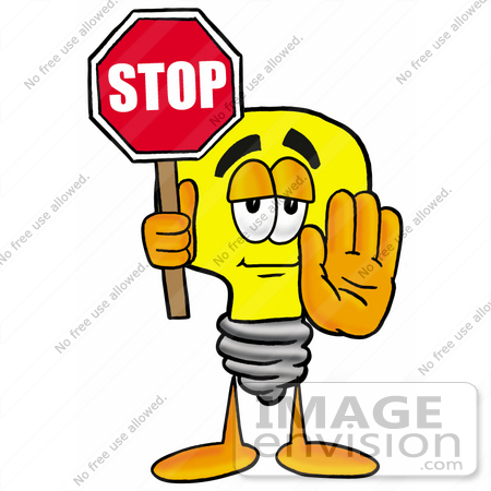 450x450 Clip Art Graphic Of A Yellow Electric Lightbulb Cartoon Character