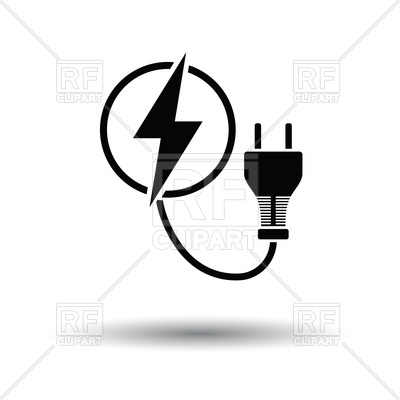 400x400 Electric Plug Icon With Shadow Design Royalty Free Vector Clip Art