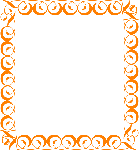 552x596 Orange Elegant Border Clip Art