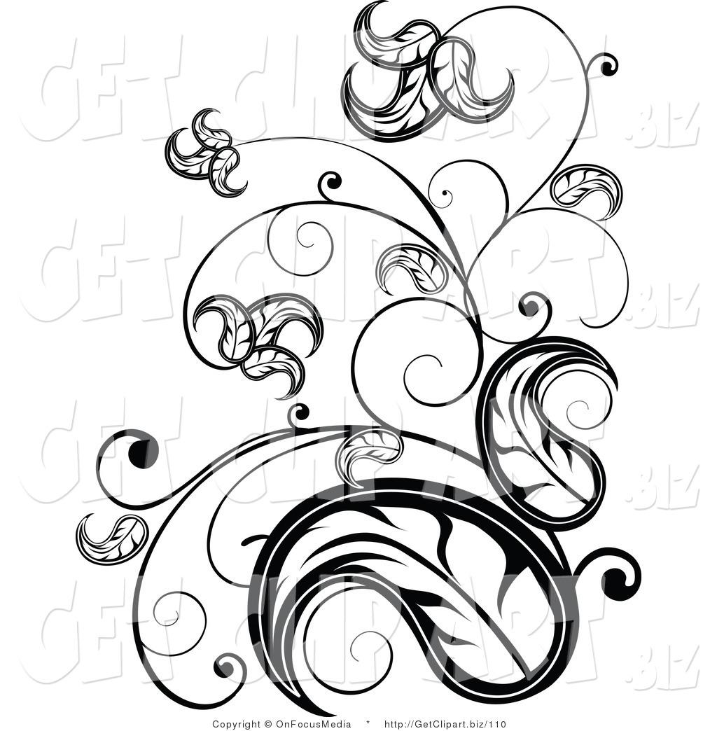 1024x1044 Clip Art Of An Elegant Black And White Leafy Vine Scrolling Design