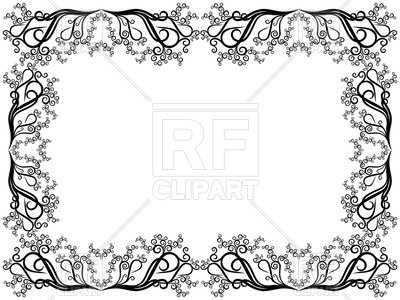 400x300 Elegant Frame Made Of Curly Floral Elements Royalty Free Vector