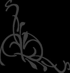 285x299 Charcoal Floral Swirl Clip Art