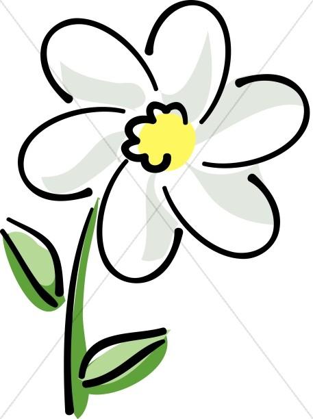 457x612 Elegant Flower Accent Sketch Church Flower Clipart