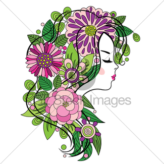 325x325 Beautiful Girl's Face On The Flower Background Gl Stock Images