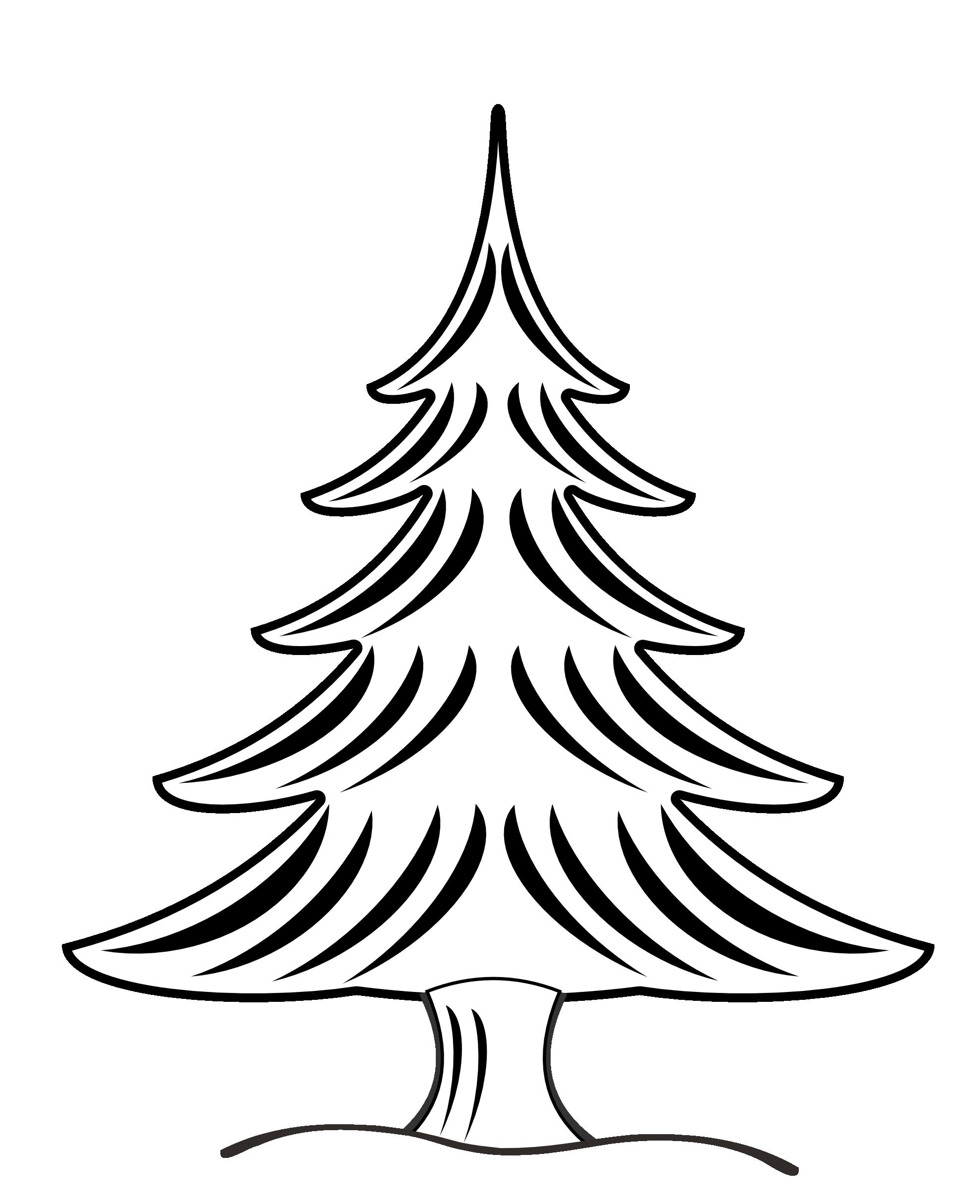 1979x2430 Christmas Tree Black White Line Art Clipart