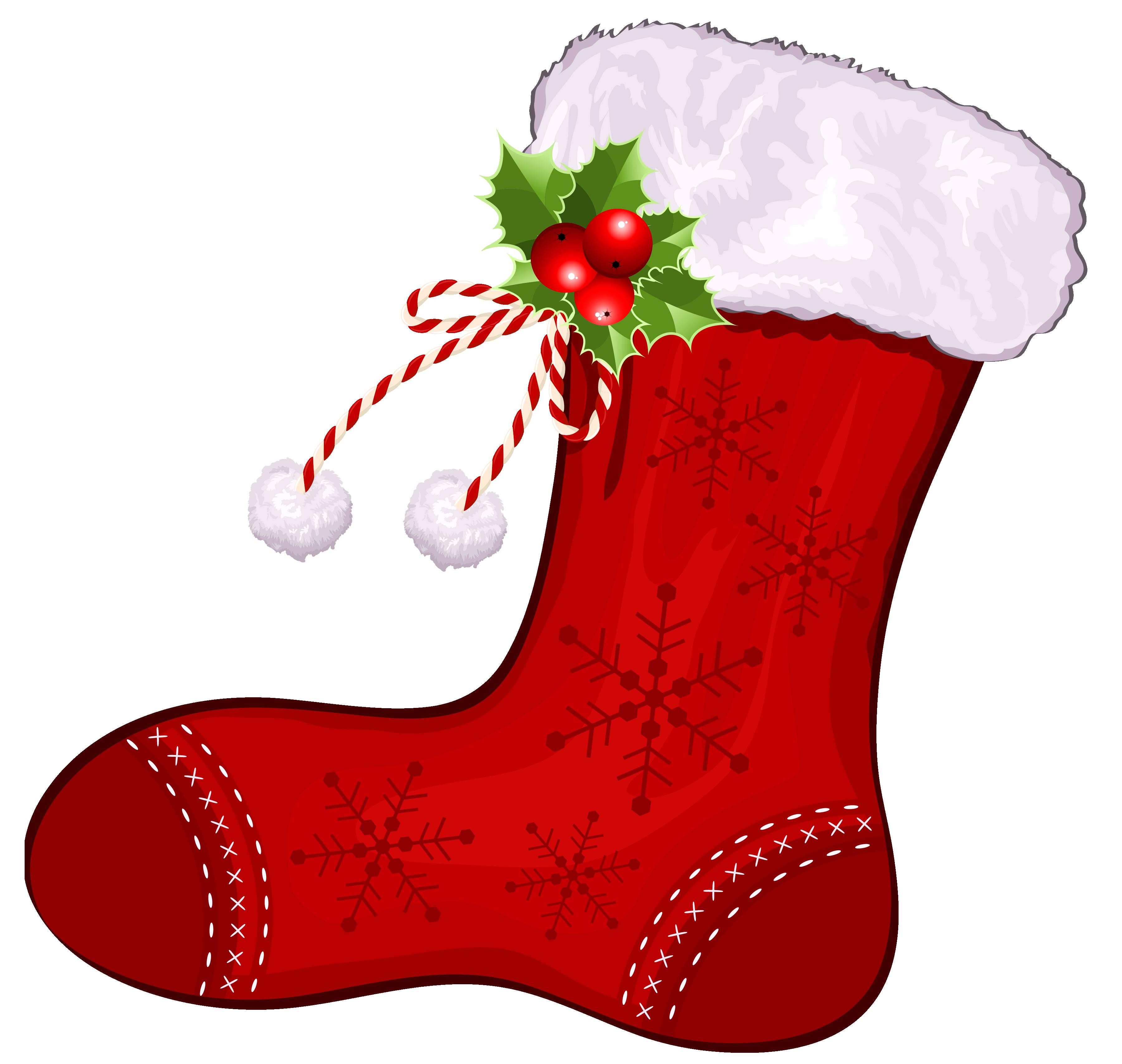 3600x3415 Elegant Christmas Stocking Clipart