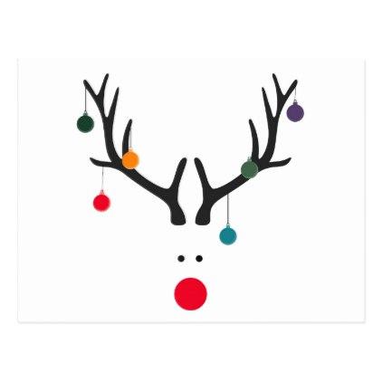 422x422 Modern Funny Abstract Christmas Reindeer On White Postcard
