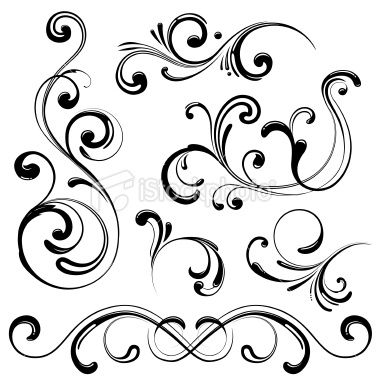 380x380 Set Of Modern Ornate Swirl Elements Perfect For Your Designs. Made