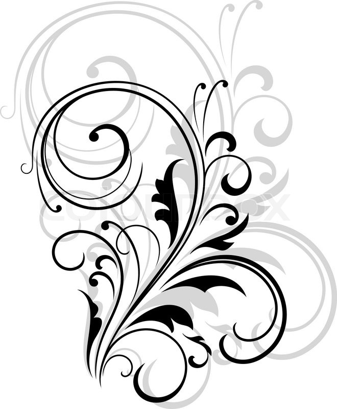 660x800 Simple Black And White Swirling Floral Element With A Repeat