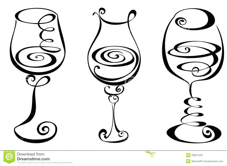 736x539 Two Wine Glasses Elegant Swirl Designs Clip Art Toasting Clipart
