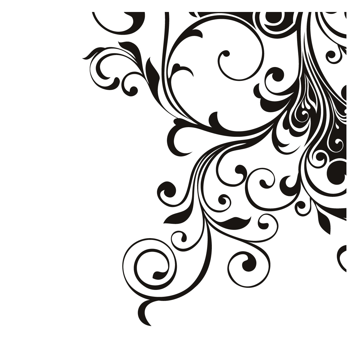 1200x1200 Black Swirl Floral Corner Decoration Wall Art Stickers Design