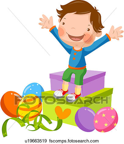 406x470 Clip Art Of Present, Elementary School Student, Gift, Raised, Arms